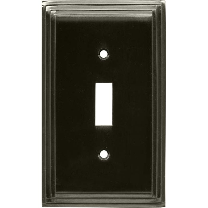 Art Deco Step Satin Black Nickel - Single Toggle Switch Plates