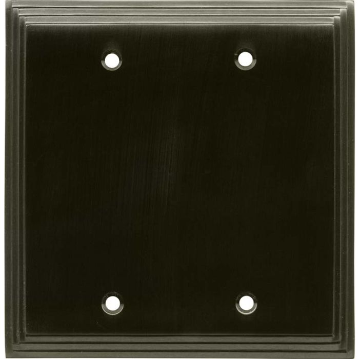 Art Deco Step Satin Black Nickel Double Blank Wallplate Covers