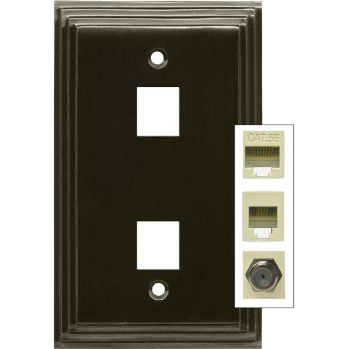 Art Deco Step Satin Black Nickel - Double Port Modular Wall Plates