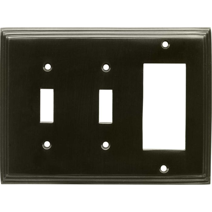 Art Deco Step Satin Black Nickel Double 2 Toggle / 1 GFCI Rocker Combo Switchplates