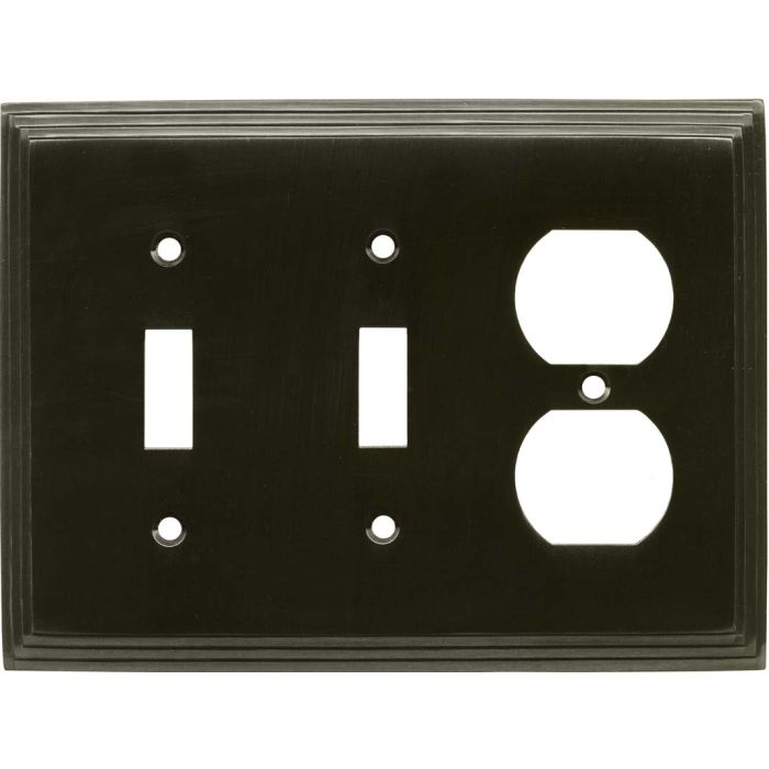 Art Deco Step Satin Black Nickel Double 2 Toggle / Outlet Combination Wall Plates