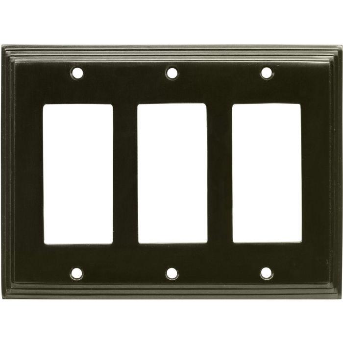 Art Deco Step Satin Black Nickel Triple 3 Rocker GFCI Decora Light Switch Covers