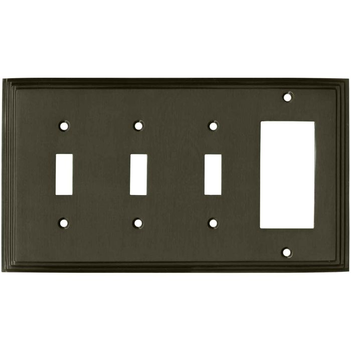 Art Deco Step Satin Black Nickel Triple 3 Toggle / 1 Rocker GFCI Switch Covers