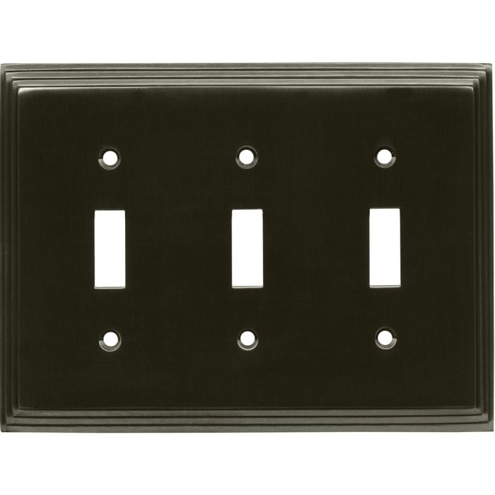 Art Deco Step Satin Black Nickel Triple 3 Toggle Light Switch Covers