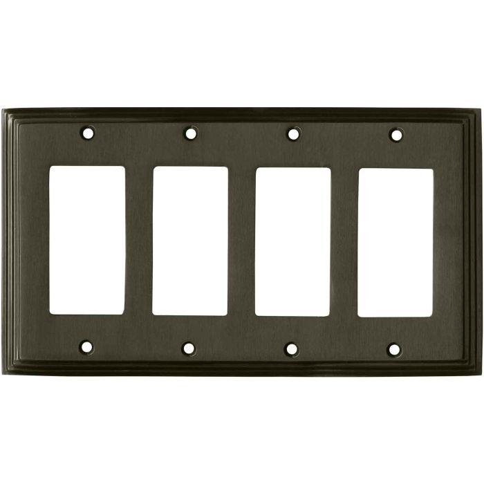 Art Deco Step Satin Black Nickel - 4 Rocker GFCI Decora Switch Plates