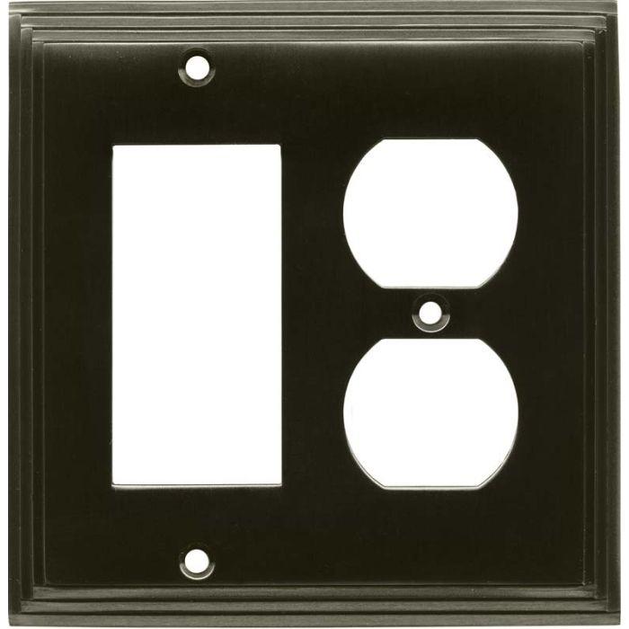 Art Deco Step Satin Black Nickel - GFCI Rocker/Duplex Outlet Wall Plates