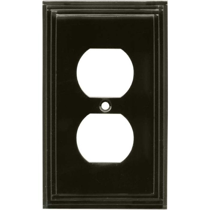 Art Deco Step Satin Black Nickel 1 Gang Duplex Outlet Cover Wall Plate