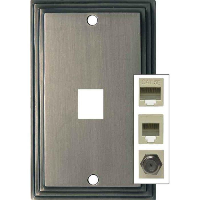 Art Deco Step Satin Nickel 1 Port Modular Wall Plates for Phone, Data, Phone
