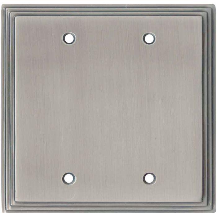 Art Deco Step Satin Nickel Double Blank Wallplate Covers