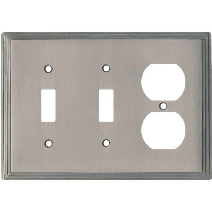 Art Deco Step Satin Nickel Double 2 Toggle / Outlet Combination Wall Plates