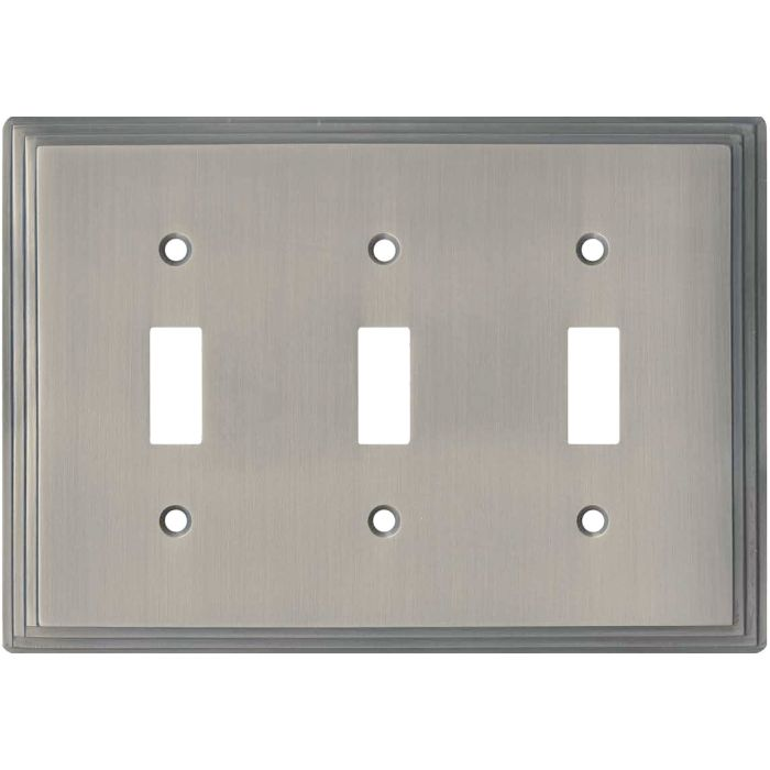Art Deco Step Satin Nickel Triple 3 Toggle Light Switch Covers
