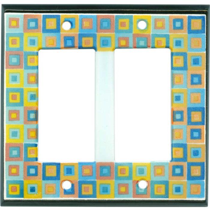 Art Glass Ceramic 2 Gang Double GFCI Rocker Decorator Wallplates