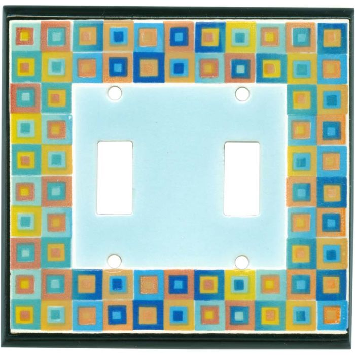 Art Glass Ceramic Double 2 Toggle Switch Plate Covers