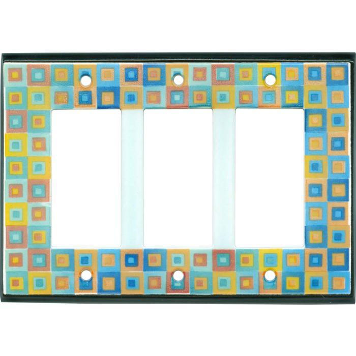 Art Glass Ceramic Triple 3 Rocker GFCI Decora Light Switch Covers