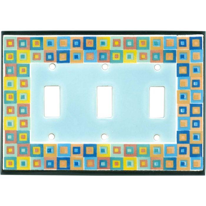 Art Glass Ceramic Triple 3 Toggle Light Switch Covers