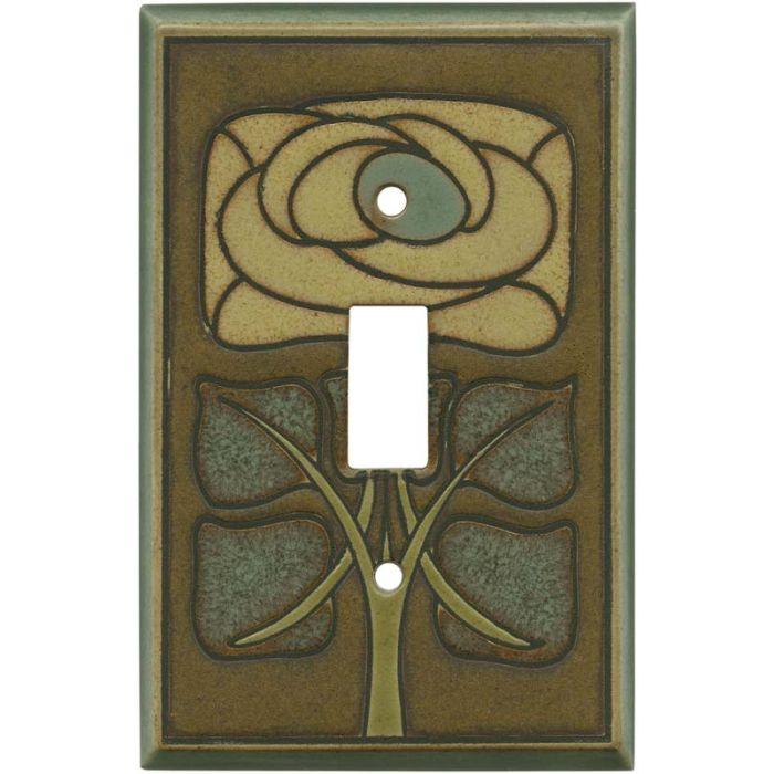 Art Nouveau Flower Ceramic Single 1 Toggle Light Switch Plates