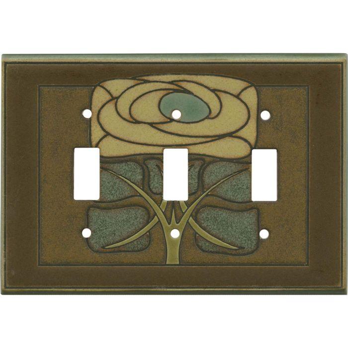 Art Nouveau Flower Ceramic Triple 3 Toggle Light Switch Covers