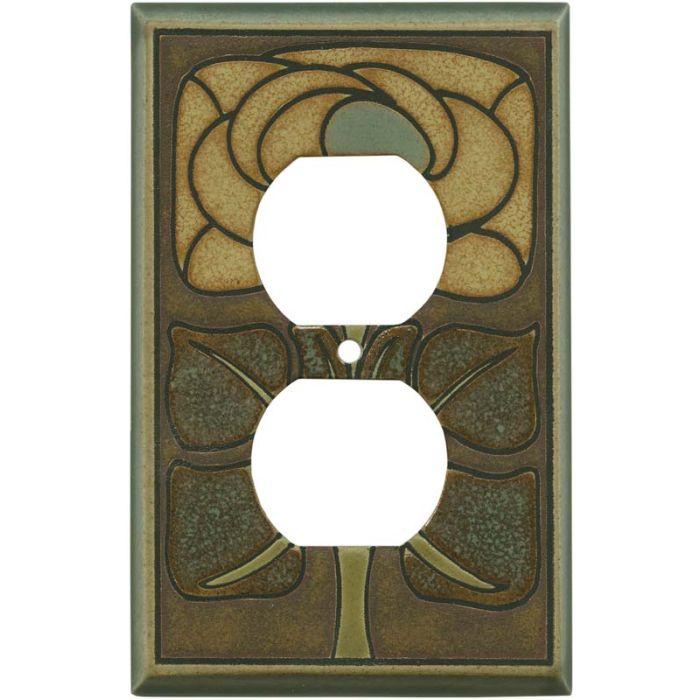 Art Nouveau Flower Ceramic 1 Gang Duplex Outlet Cover Wall Plate