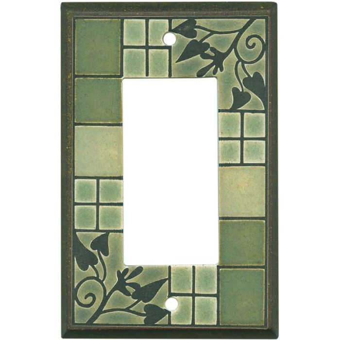 Arts and Crafts Ceramic Single 1 Gang GFCI Rocker Decora Switch Plate Cover