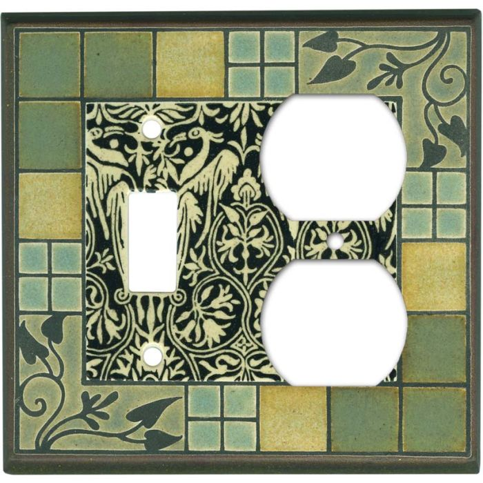 Arts and Crafts Ceramic Combination 1 Toggle / Outlet Cover Plates