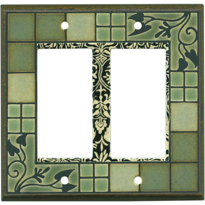 Arts and Crafts Ceramic 2 Gang Double GFCI Rocker Decorator Wallplates