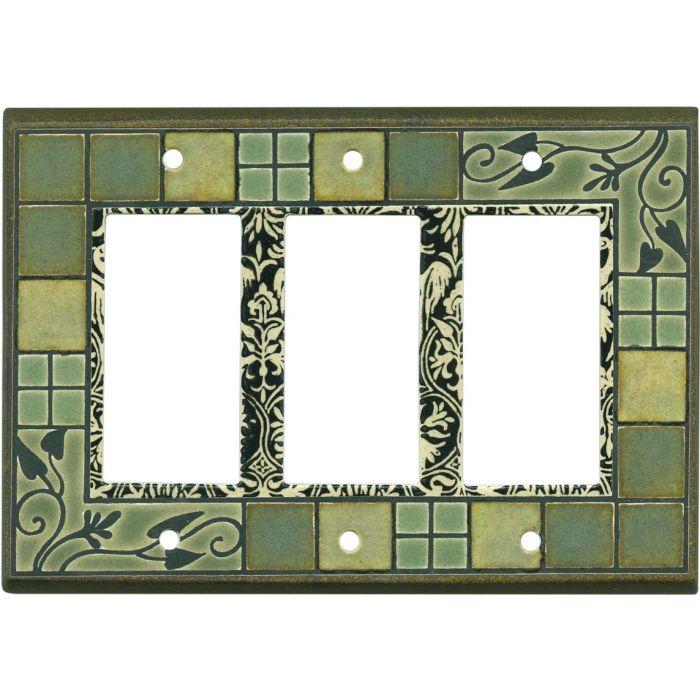 Arts and Crafts Ceramic Triple 3 Rocker GFCI Decora Light Switch Covers