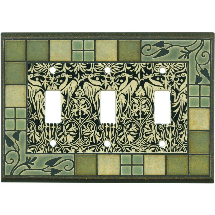 Arts and Crafts Ceramic Triple 3 Toggle Light Switch Covers