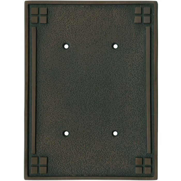 Arts and Crafts Crest Double Blank Wallplate Covers