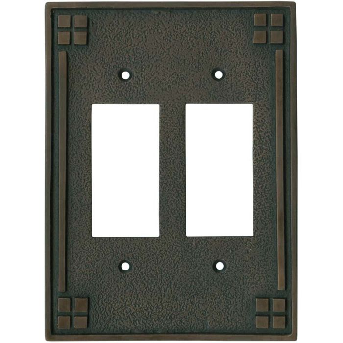 Arts and Crafts Crest - 2 Gang Double GFCI Rocker Wallplates
