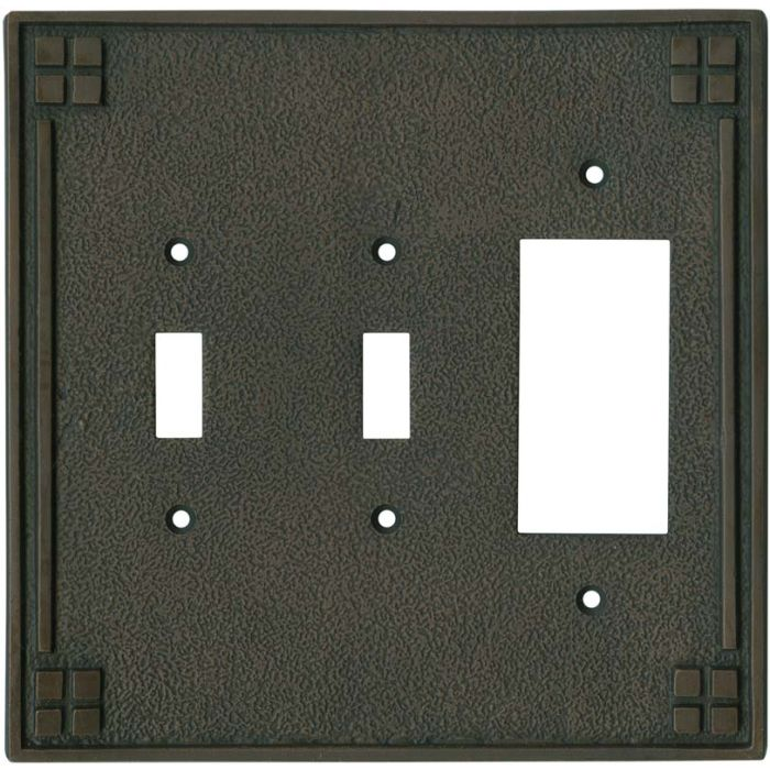Arts and Crafts Crest - 2 Toggle/1 GFCI Rocker Switchplates