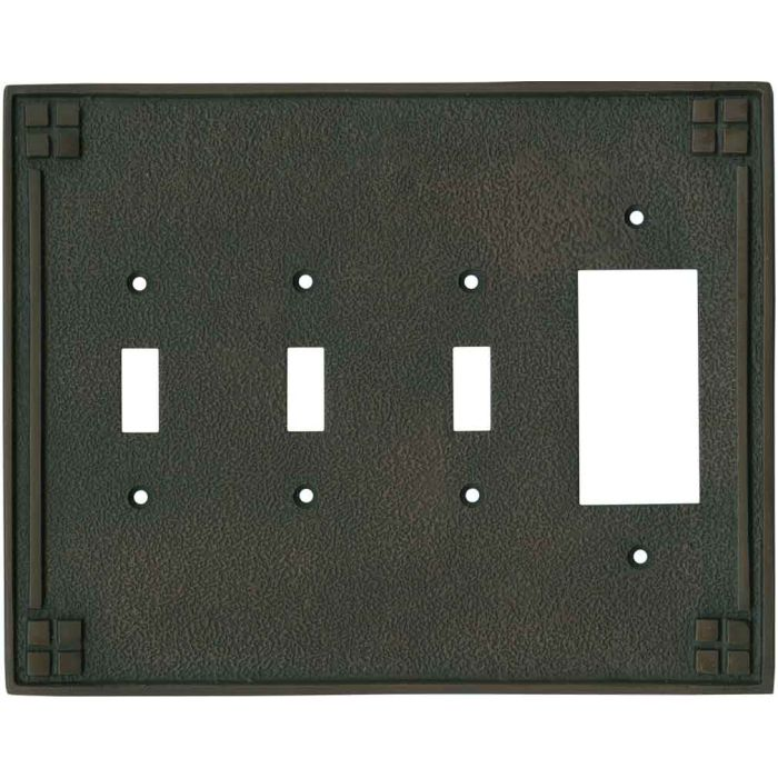 Arts and Crafts Crest - 3 Toggle/1 Rocker GFCI Switch Covers