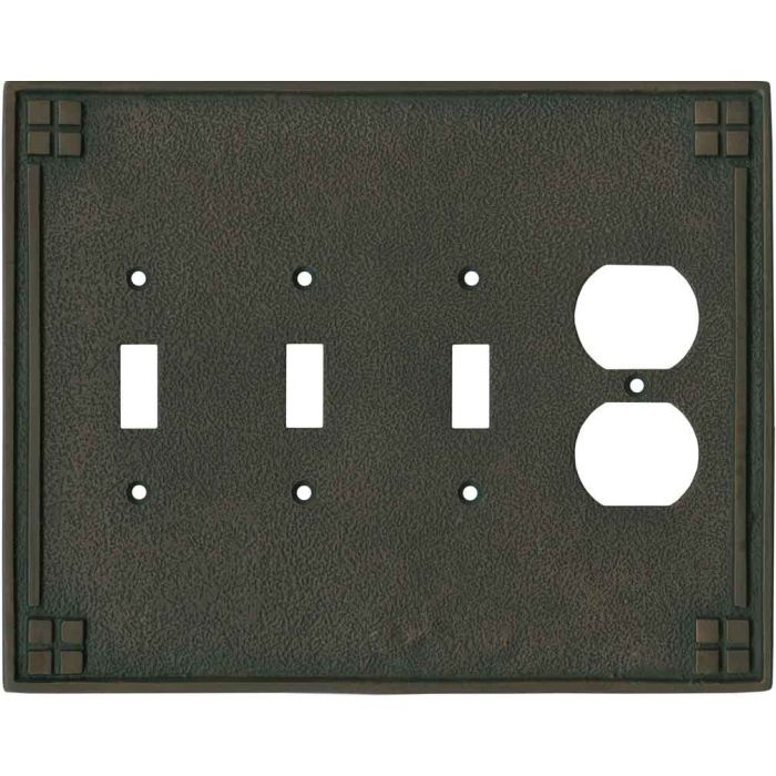 Arts and Crafts Crest Combination Triple 3 Toggle / Outlet Wall Plate Covers