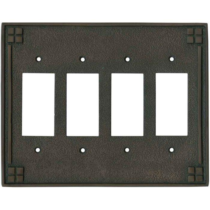 Arts and Crafts Crest - 4 Rocker GFCI Decora Switch Plates