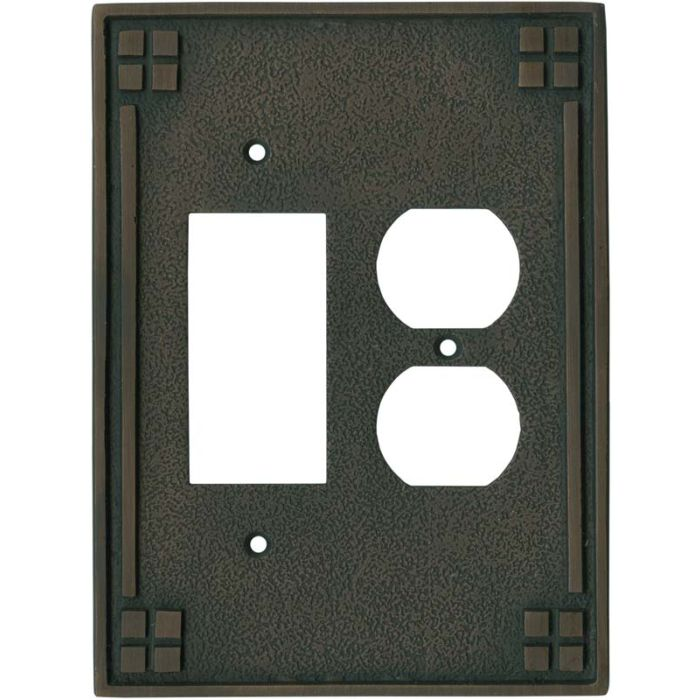 Arts and Crafts Crest Combination GFCI Rocker / Duplex Outlet Wall Plates