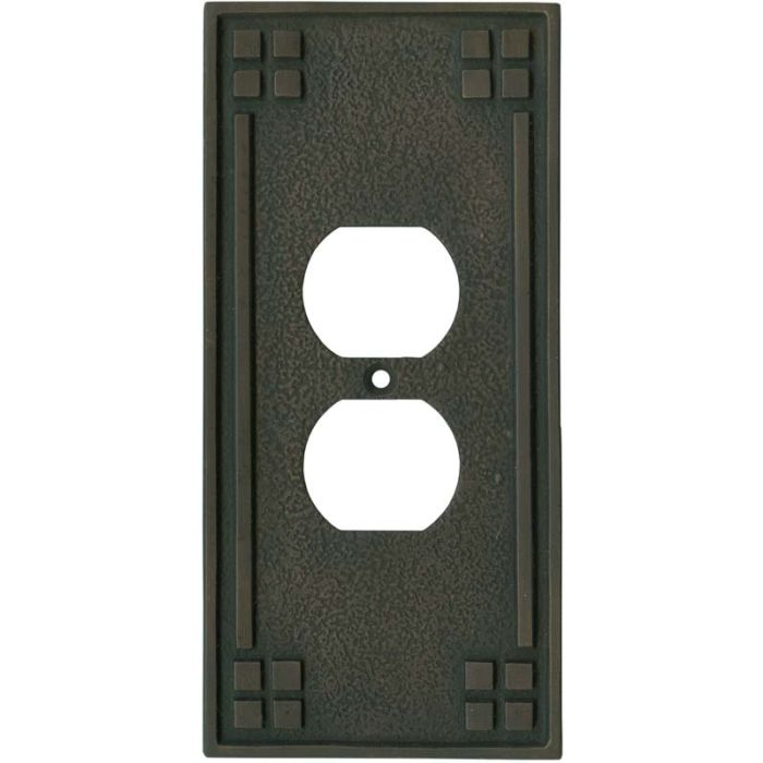 Arts and Crafts Crest 1 Gang Duplex Outlet Cover Wall Plate