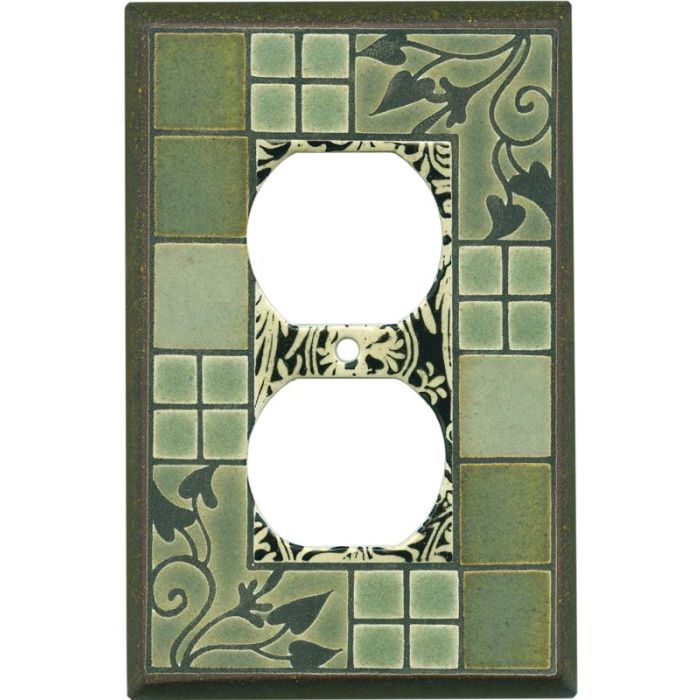 Arts and Crafts Ceramic 1 Gang Duplex Outlet Cover Wall Plate