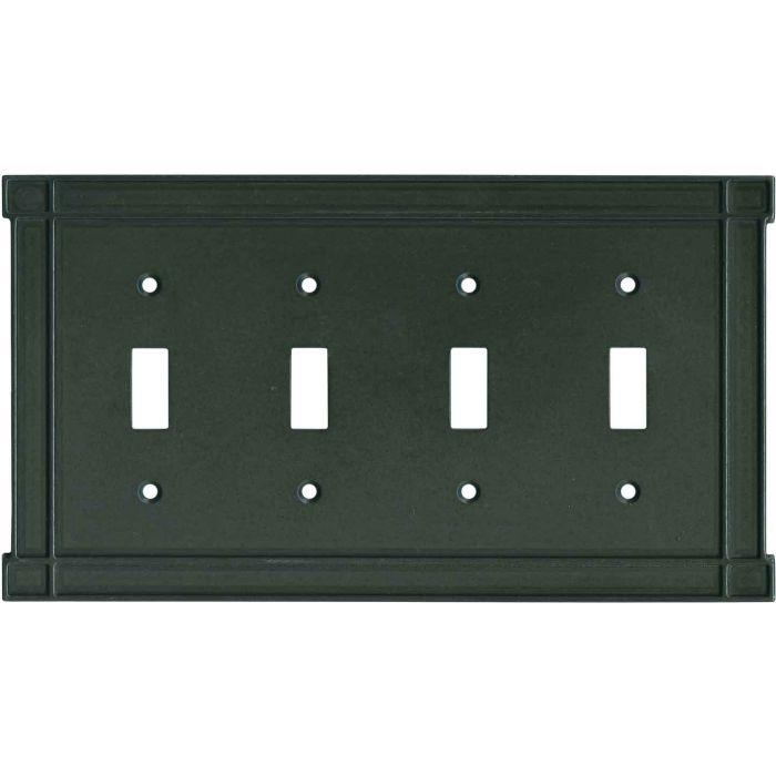 Brainerd Arts n Crafts Soft Iron Quad 4 Toggle Light Switch Covers