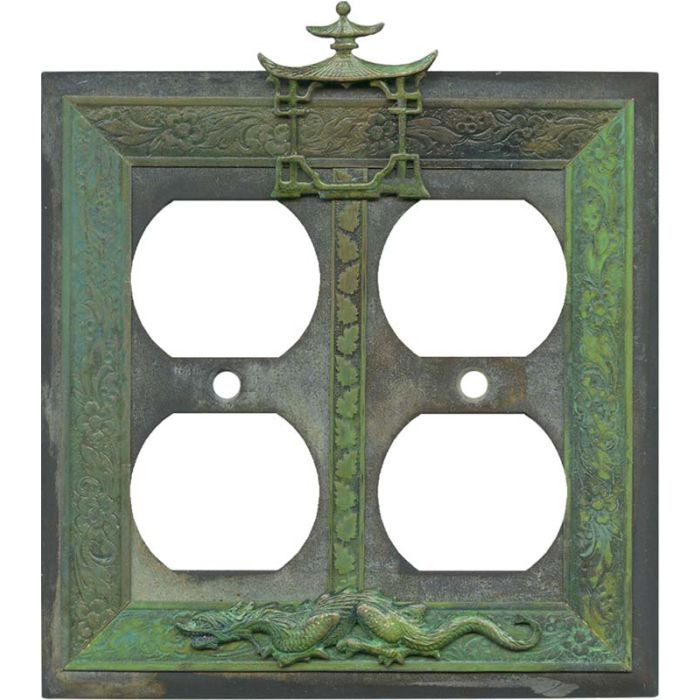 Asian Teahouse 2 Gang Duplex Outlet Wall Plate Cover
