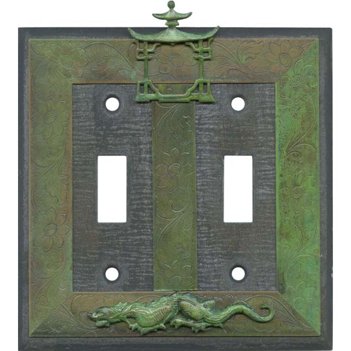 Asian Teahouse Double 2 Toggle Switch Plate Covers