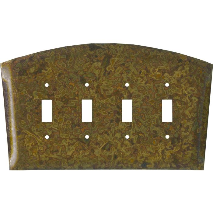 Autumn Brass Quad 4 Toggle Light Switch Covers