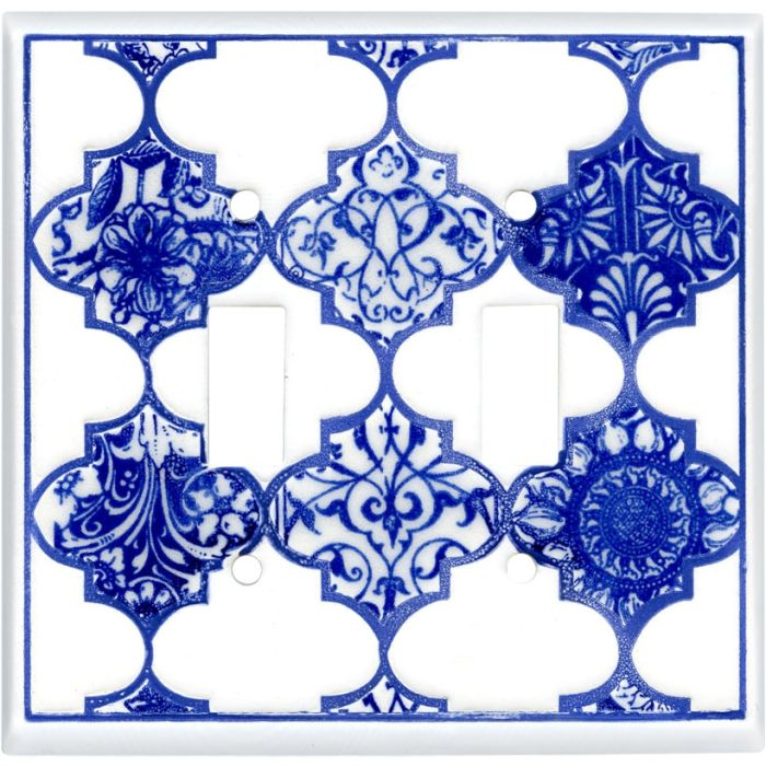 Quatrefoil Blue Ceramic Double 2 Toggle Switch Plate Covers