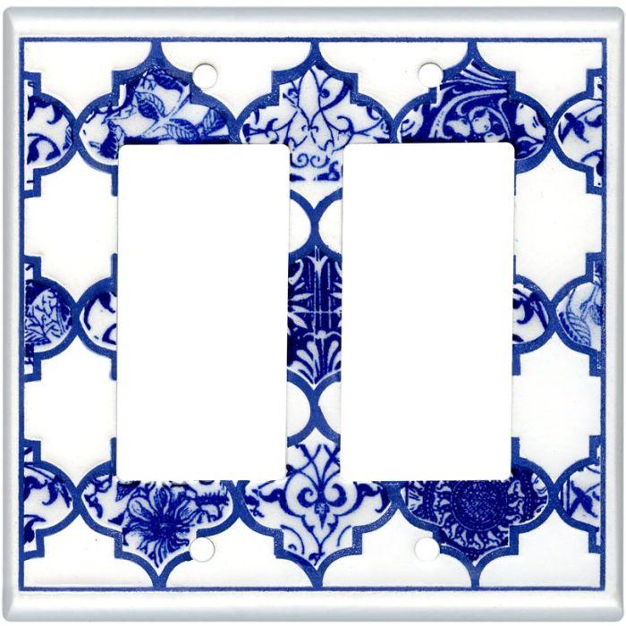 Quatrefoil Blue Ceramic 2 Gang Double GFCI Rocker Decorator Wallplates
