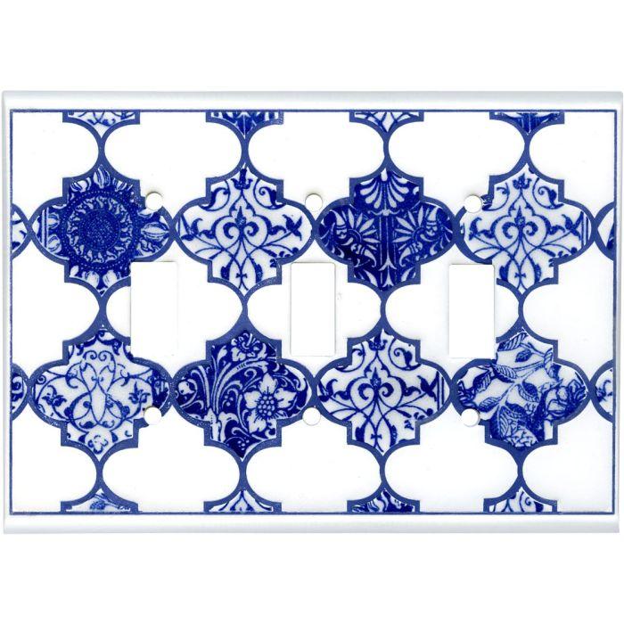 Quatrefoil Blue Ceramic Triple 3 Toggle Light Switch Covers