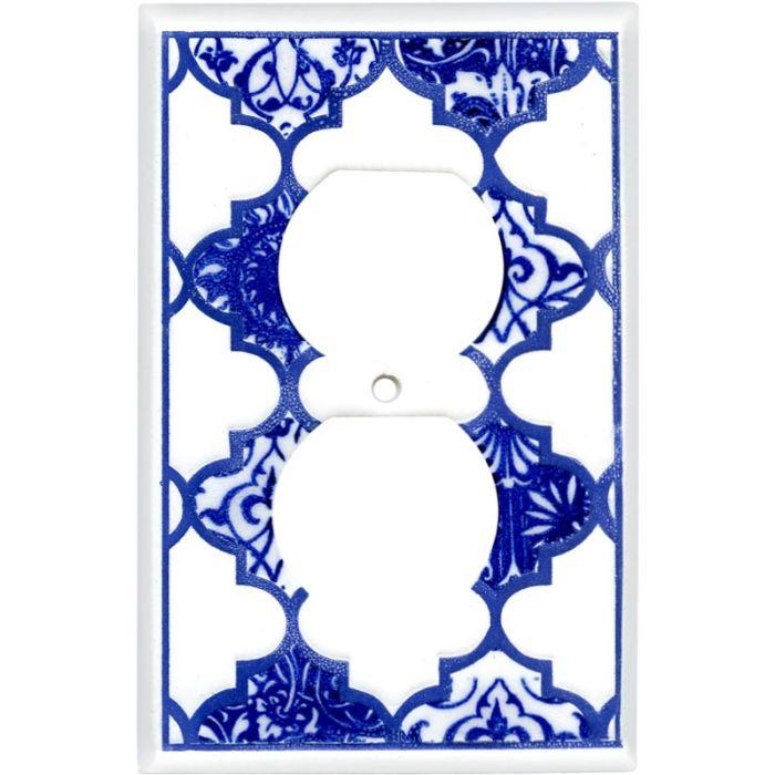 Quatrefoil Blue Ceramic 1 Gang Duplex Outlet Cover Wall Plate