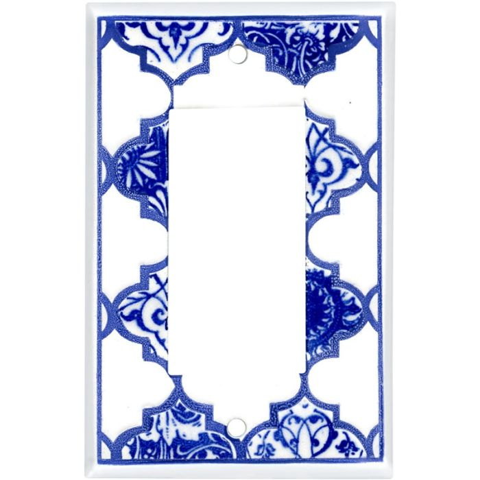 Quatrefoil Blue Ceramic Single 1 Gang GFCI Rocker Decora Switch Plate Cover