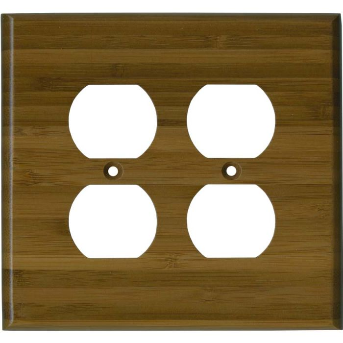 Bamboo Caramel Satin Lacquer 2 Gang Duplex Outlet Wall Plate Cover