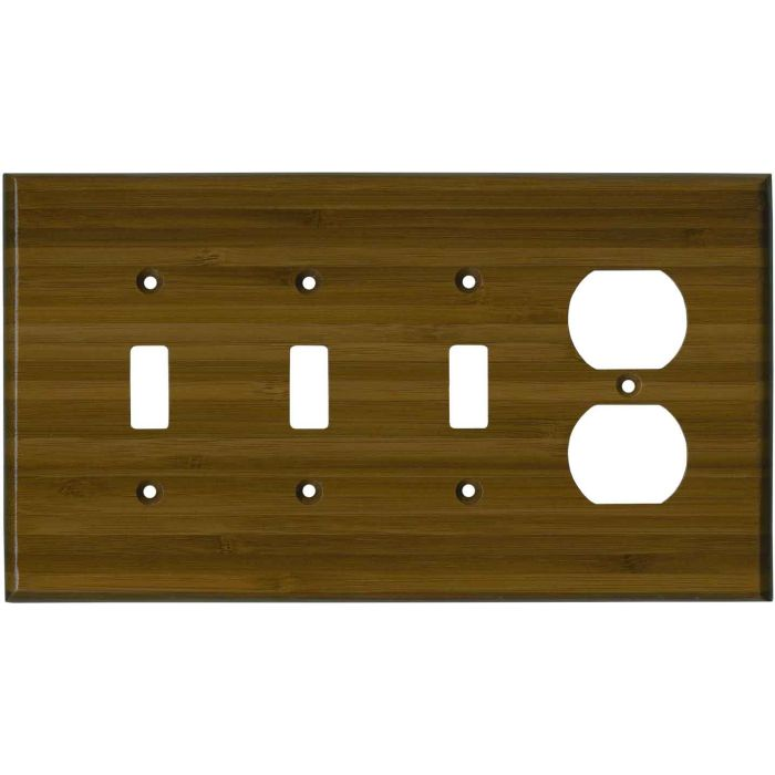 Bamboo Caramel Satin Lacquer Combination Triple 3 Toggle / Outlet Wall Plate Covers