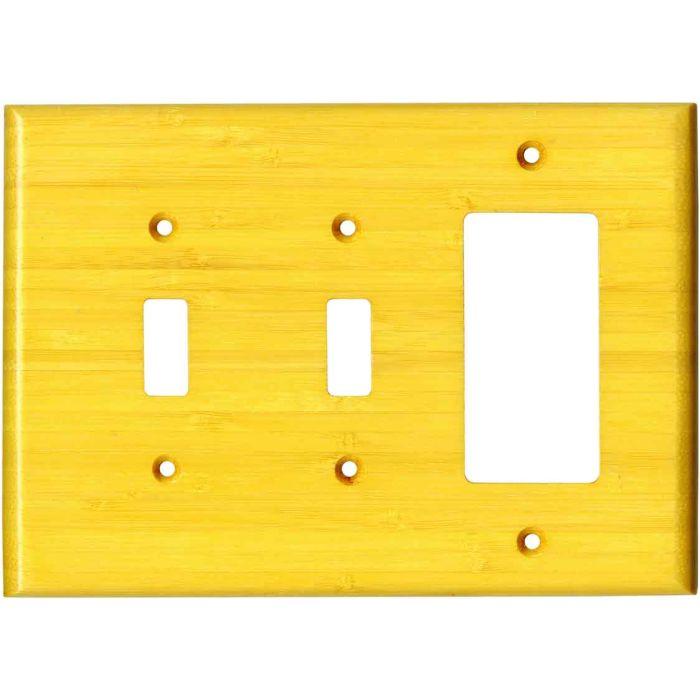 Bamboo Evening Glow Yellow Double 2 Toggle / 1 GFCI Rocker Combo Switchplates