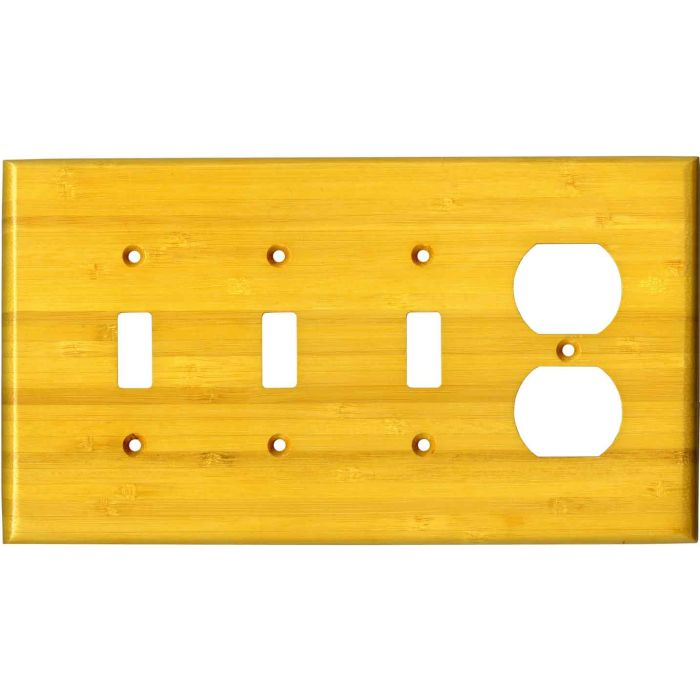 Bamboo Evening Glow Yellow Combination Triple 3 Toggle / Outlet Wall Plate Covers