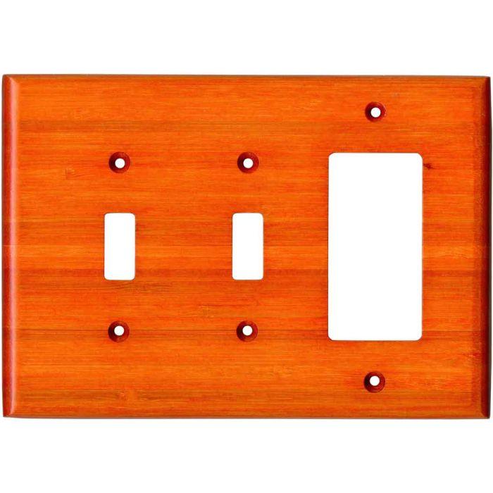 Bamboo Mandarin Orange Double 2 Toggle / 1 GFCI Rocker Combo Switchplates